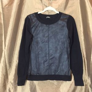 Express Faux Leather Sweater with patch sleeves